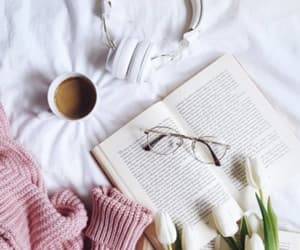 book, coffee, and spring image