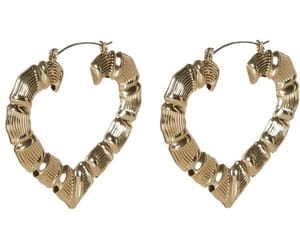 earrings, gold, and heart image