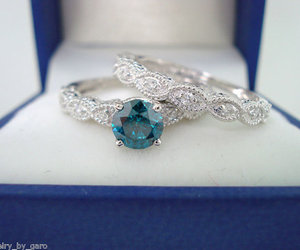 ring, white gold, and blue and white diamond image