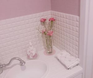 aesthetic, pink, and bathroom image