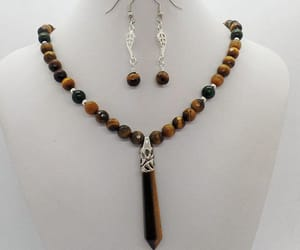 beaded necklace, jewelry set, and rustic earrings image