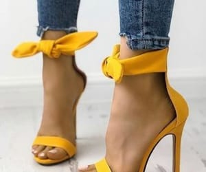 heels, yellow, and shoes image