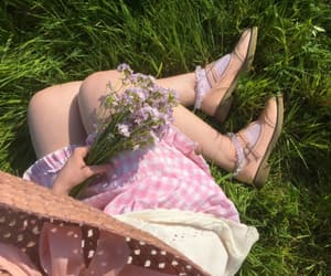flowers, girl, and spring image