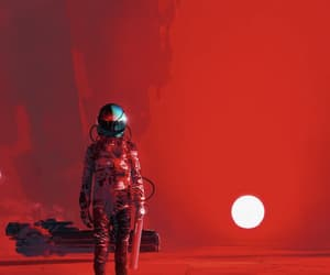red, art, and astronaut image