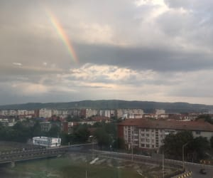city, nature, and rainbow image