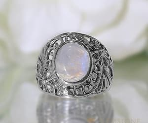 moonstone, moonstone rings, and gemstone silver jewelry image