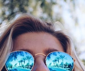 light, ray ban, and sunglasses image