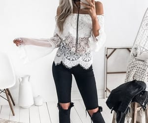 white, lace, and fashion image
