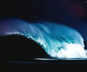 night, waves, and ocean image