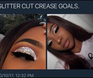 glitter, goals, and makeup image