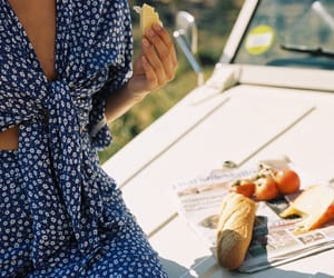 blue dress, boat, and bread image