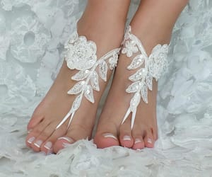 barefoot, lace, and weddings image