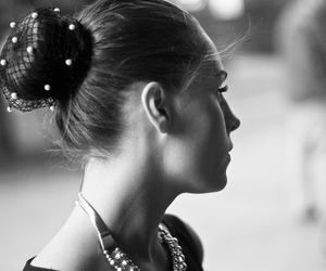 black and white, girl, and pearls image