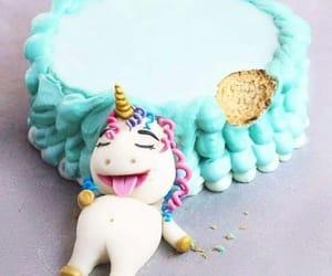 unicorn, cake, and blue image