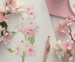 pink, flowers, and art image