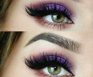 green eyes, purple shadow, and lashes image