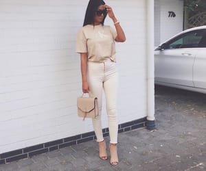 beige, dress, and fashion image