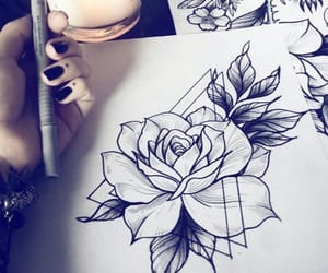 drawing, flowers, and nails image