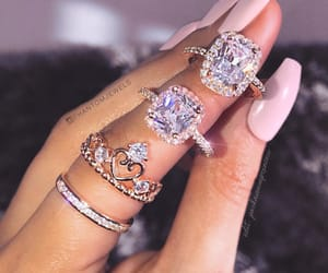 diamond, nails, and rings image