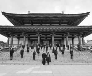 black and white, photography, and Temple image