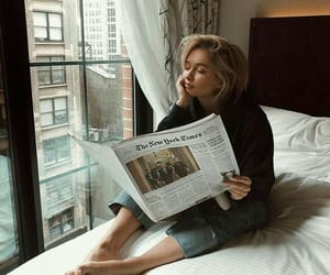 girl, newspaper, and morning image