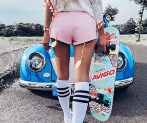 girl, car, and skate image