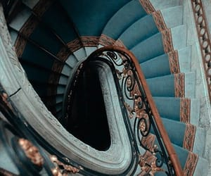 blue, stairs, and architecture image