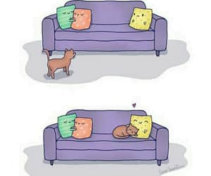 cat, love, and pillow image