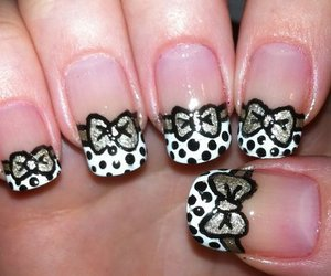 nails, bow, and black image