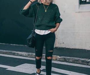 outfit, green sweater, and sweater image