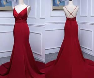 red prom dress, evening long dress, and long party gown image