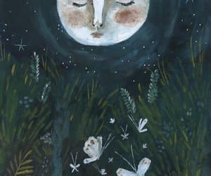 art, garden, and moon image