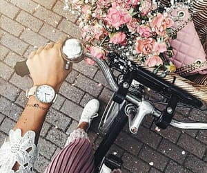 flowers, bike, and girl image