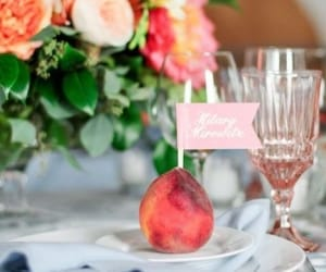mariage, table setting, and peach image