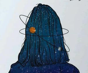 galaxy, girl, and blue image
