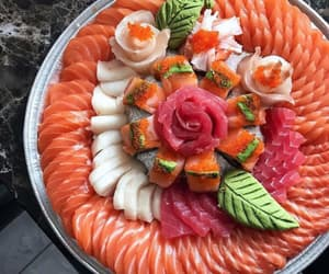 food, fish, and sushi image
