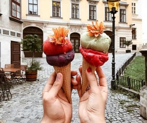 delicious, ice cream, and fruit image