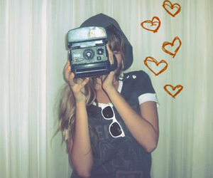 girl, camera, and heart image