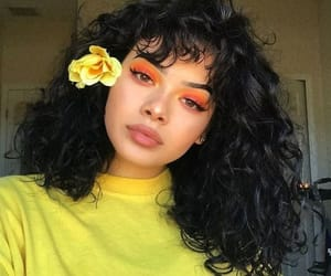 yellow, girl, and makeup image