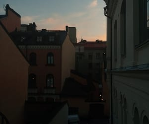 city, stockholm, and sunset image