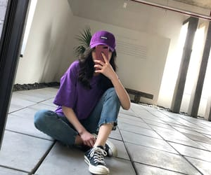 korean girls, outfits, and purple image