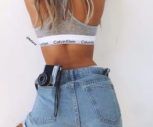bralette, Calvin Klein, and denim image