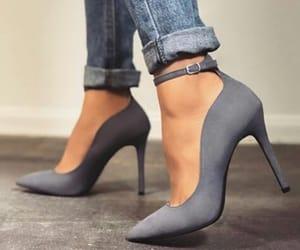footwear, heels, and grey image