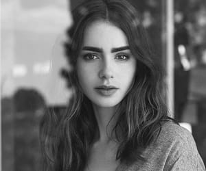 lily collins, black and white, and actress image