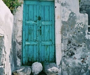 door, blue, and turquoise image