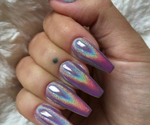 nails, beauty, and holographic image