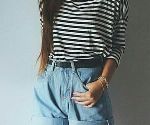 denim shorts, spring outfit, and striped shirt image