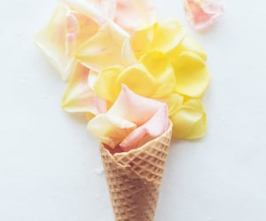 cone, flower petals, and ice cream image