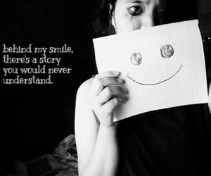 sad girl and behind fake smile quotes image