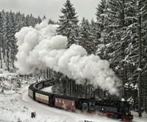 snow, travel, and train image